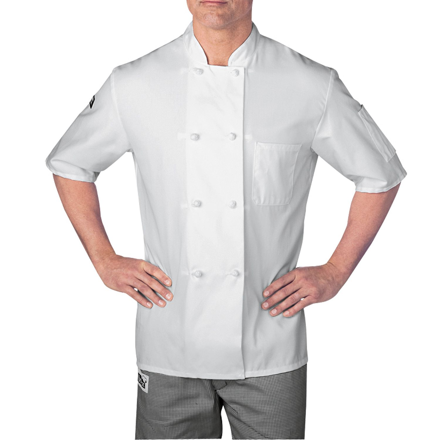 Short Sleeve Cloth Knot Button Chef Jacket (5610) | Chefwear