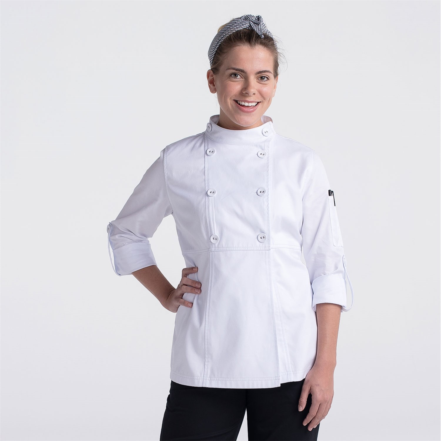 Women's Designer Chef Jacket (CW4463) - Color White