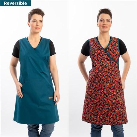 Women's Reversible Artisan Apron (CW1668) - Caribbean Blue
