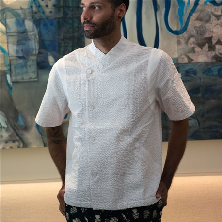 Unisex Classic Short Sleeve Performance Crossover Seersucker Chef Coat (CW5031)