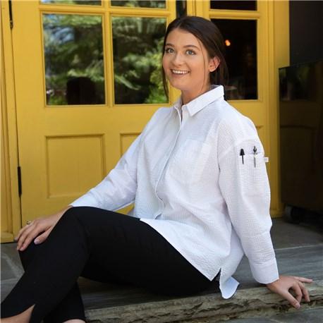 Women's Relaxed Long Sleeve Seersucker Shirt (CW5032)