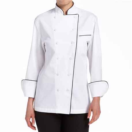 Women's Classic Long Sleeve Piped Executive Poly Blend Chef Coat (CW5695)
