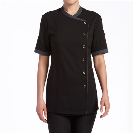 Women's Slim Short Sleeve Stretch Performance Crossover Chef Coat  (CW5881)