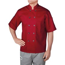 Short Sleeve Primary Plastic Button Chef Jacket (4455)