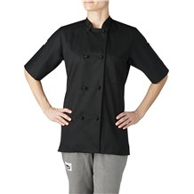 Women's Short Sleeve Primary Cloth Knot Button Chef Jacket (4460)