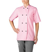 -Women's Short Sleeve Primary Plastic Button Chef Jacket (4465)