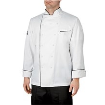 Classic Piped Executive Chef Coat (CW5690) - White, Black Piping
