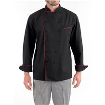 Classic Piped Executive Chef Coat (CW5690) - Black, Red Piping