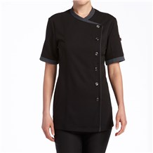Women's Slim Short Sleeve Stretch Performance Crossover Chef Coat  (CW5881)