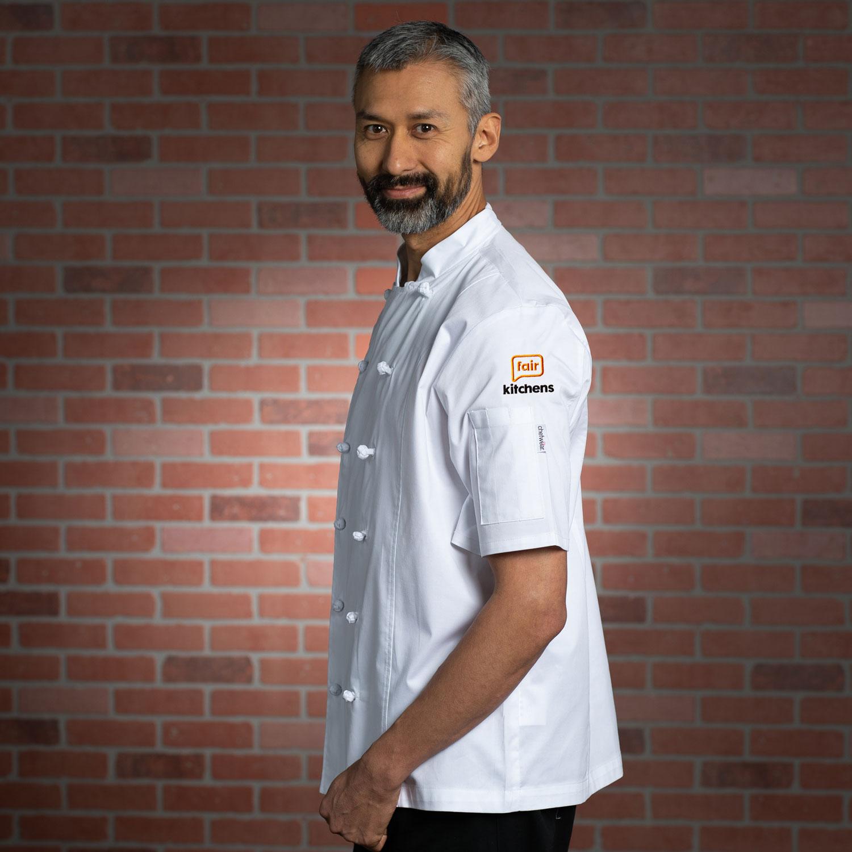 Men's Lightweight Stretch Chef Jacket w/FairKitchens Logo