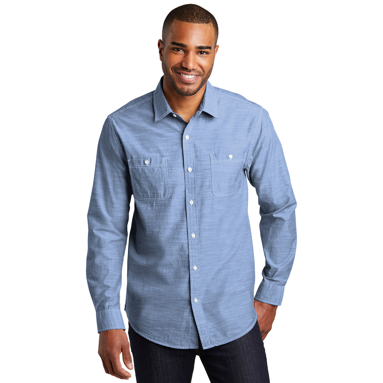 Chefwear Men's Long Sleeve Blue Chambray Kitchen Shirt, Chef Wear Style CW1350