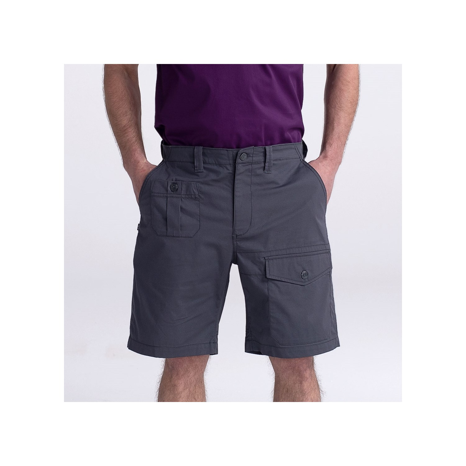 Men's Stretch Cargo Chef Short (CW3820) - Color Gray - Front View