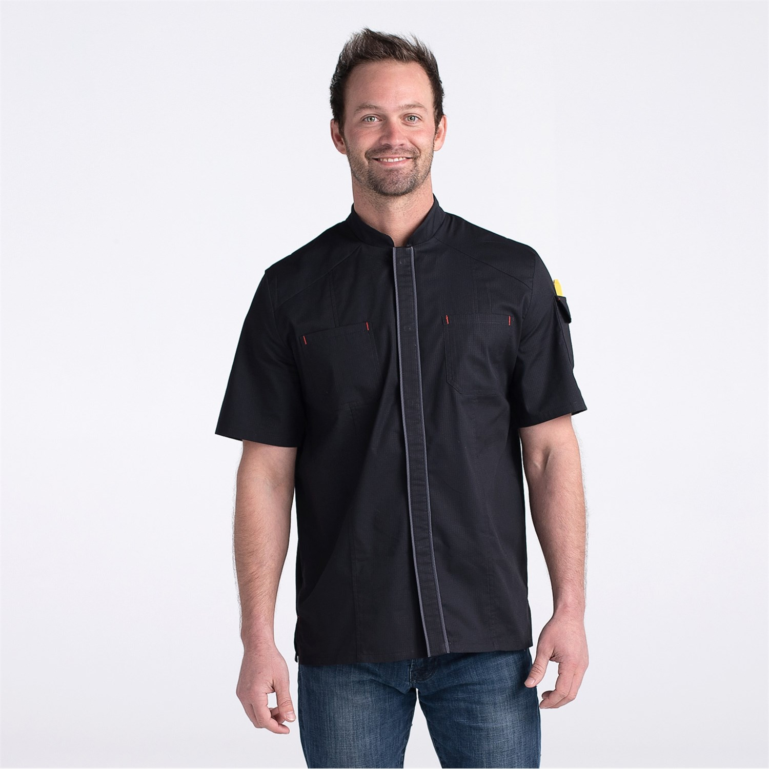 Unisex Flex Kitchen Shirt (CW4321) - Color Black - Men