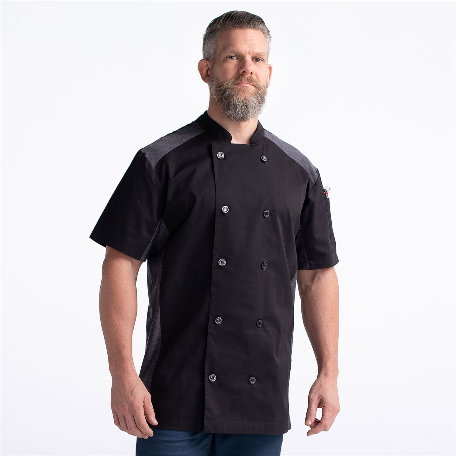 CW5630-CW30-11_Chefwear-Mens-Short-Sleeve-Quick-Cool-Stretch-Chef-Jacket_Black