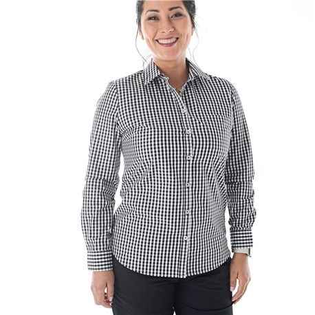 Women's Slim Long Sleeve Stretch Gingham Shirt (CW1363)