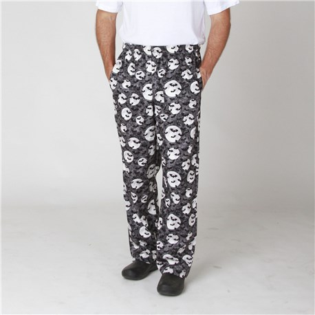 Cotton Chef Pants with Halloween Print