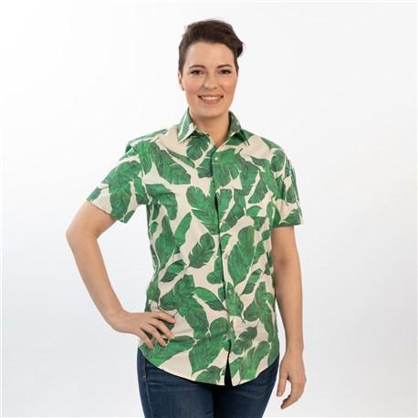 Unisex Slim Short Sleeve Stretch Print Work Shirt (CW4350) - Paradise Palm Vanilla