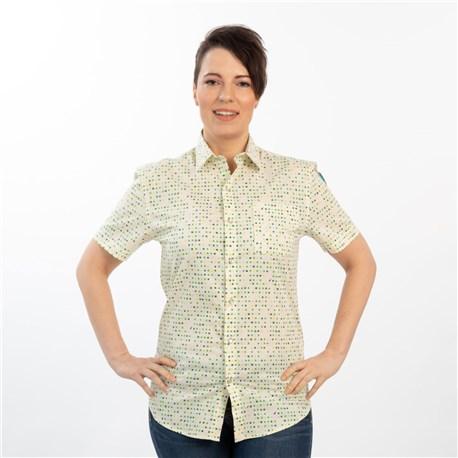 Unisex Slim Short Sleeve Stretch Print Work Shirt (CW4350) - Celestial Dot Vanilla