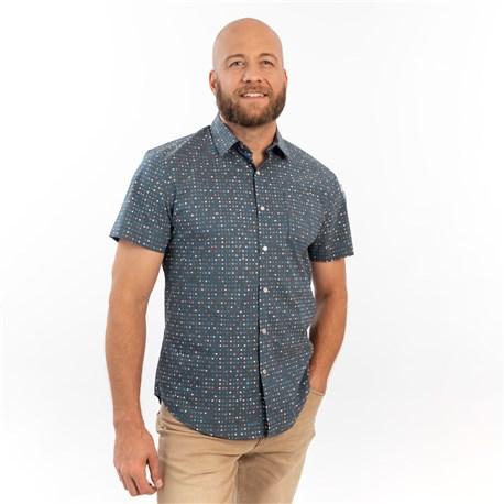 Unisex Slim Short Sleeve Stretch Print Work Shirt (CW4350) - Celestial Dot Teal