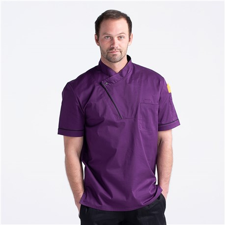Unisex Slim Short Sleeve Stretch Performance Pullover Kitchen Shirt (CW4423)