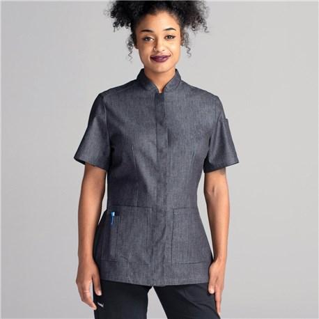 Women's Slim Short Sleeve Denim Chef Coat (CW4955)