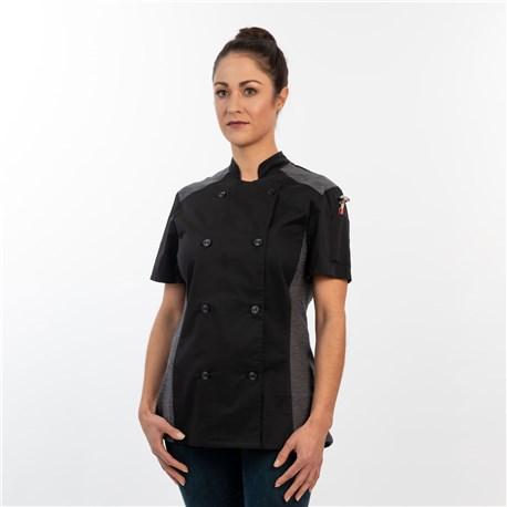 Women's Slim Short Sleeve Quick Cool Stretch Chef Coat (CW5631) - Black