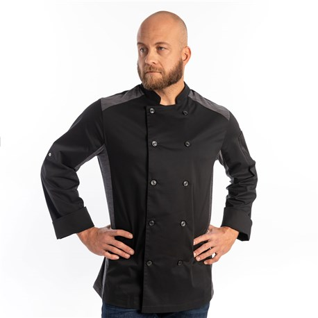 Unisex Slim Long Sleeve Quick Cool Stretch Chef Coat (CW5632) - Black