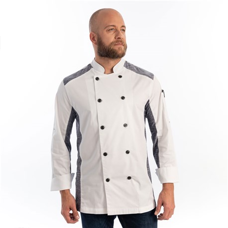 Unisex Slim Long Sleeve Quick Cool Stretch Chef Coat (CW5632) - White