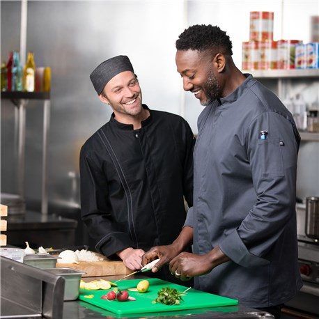 Men's Slim Long Sleeve Stretch Performance Stain Repellent Chef Coat (CW5635)