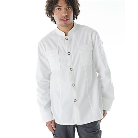Men's Modern Long Sleeve Cooling Ring Snap Chef Coat (CW5664)