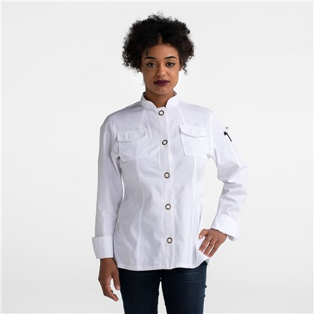 Women's Slim Long Sleeve Cooling Ring Snap Chef Coat (CW5668)