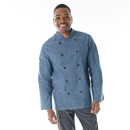 Unisex Classic Long Sleeve Stretch Chambray Chef Coat (CW5888)