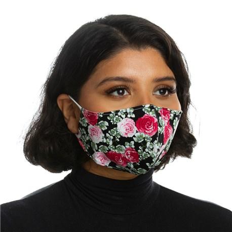 Face Mask (L10001) - Pink Black Floral - 3 Pack