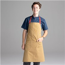 Chefwear 2 Pocket 100% Cotton Brown (Khaki) Bib Chef Apron, Chef Wear Style CW1693