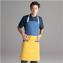 Chefwear 2 Pocket 100% Cotton Two Color Blue and Yellow Bib  Apron for Chefs, Cooks, Waiters and Servers. Chef Wear Style CW1694