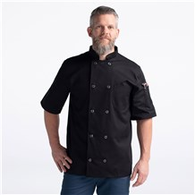 CW4455-CW30-01_Chefwear-Short-Sleeve-Plastic-Button-Chef-Jacket_Black