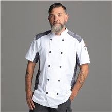 Chefwear Men's White Short Sleeve Quick Cool Stretch Chef Jacket. Chef Wear Style CW5630