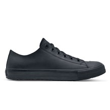 Black Leather Delray Work Sneaker. Water and Slip Resistant, Ideal for Chefs, Cooks and Caf� Staff.