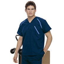 Men's Black V Neck Work Shirt (7569)