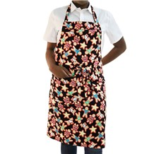 Classic Cotton Bib Apron (CW1650H) [Gingerbread Men]