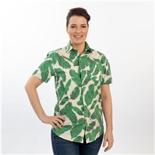 Unisex Slim Short Sleeve Stretch Print Work Shirt (CW4350) - Paradise Palm Vanilla