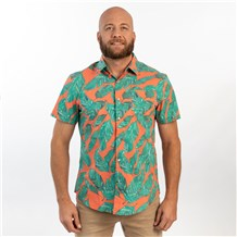 Unisex Slim Short Sleeve Stretch Print Work Shirt (CW4350) - Paradise Palm Coral