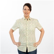 Unisex Stretch Print Work Shirt (CW4350) - Celestial Dot Vanilla