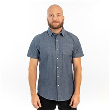 Unisex Slim Short Sleeve Stretch Chambray Work Shirt (CW4351)