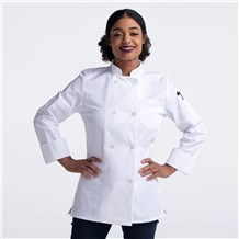 Women Slim Long Sleeve Essential Plastic Button Chef Coat (CW4420)