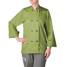 Women's Long Sleeve Primary Plastic Button Chef Jacket (4420)