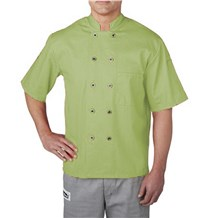 Short Sleeve Primary Plastic Button Chef Jacket (4455-WSL)