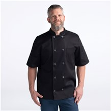 Unisex Modern Short Sleeve Essential Lightweight Plastic Button Chef Coat (CW4456)