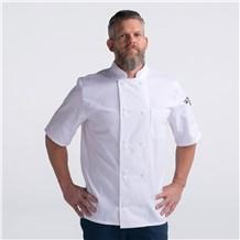 Unisex Modern Short Sleeve Essential Lightweight Plastic Button Chef Coat (CW4456)
