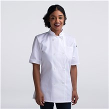 Women's Short Sleeve Primary Plastic Button Chef Jacket (4465)